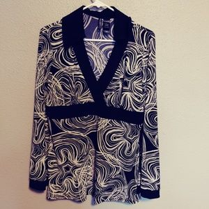 Black and White Blouse by Bisou Bisou, L